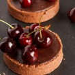 Chocolate tart with cherry — Stock Photo