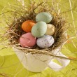 Easter chocolate eggs in the nest — Stock Photo #28811085
