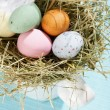 Easter chocolate eggs in the nest — 图库照片