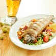 Trout with vegetables and beer — Stock Photo