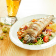 Stock Photo: Trout with vegetables and beer