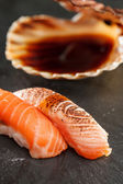 Sushi with soy sauce — Stock Photo