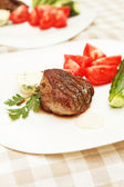 Steak with fresh vegetables — Stock Photo