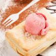 Puff pastry with ice cream — Stock Photo