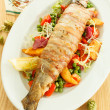 Trout with vegetables and beer — Stock Photo #30786939
