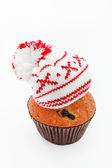 Winter cap on muffin — Stock Photo