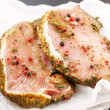 Raw pork meat with spice — Stock Photo