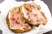 Raw pork meat with spice — Stock Photo