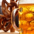 Stock Photo: Germpretzel bread with beer