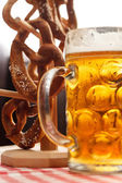 German pretzel bread with beer — Stock Photo