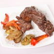 Stock Photo: Steak with grilled vegetables