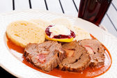 Meat with sauce — Stockfoto