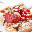 Belgian waffles with fruit — Stock Photo