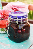 Berry jam in the bottle — Stock Photo