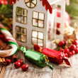 Christmas decoration with candy — Stockfoto