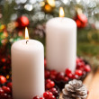 Christmas decorations with candles — 图库照片