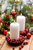 Christmas decorations with candles — Foto Stock
