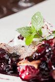 Berry strudel with ice cream — Stock Photo