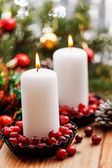 Christmas decorations with a candles — Stock Photo