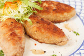 Cutlets with salad — Stock Photo