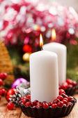 Kerstversiering met een kaarsen — Stockfoto