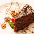 Chocolate cake with cherry — Stockfoto