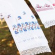 Linen towel embroidery — Stockfoto