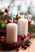 Christmas decorations with candles — Fotografia Stock