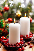 Christmas decorations with candles — Stock Photo