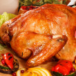 Garnished roasted turkey — Stock Photo #35450715