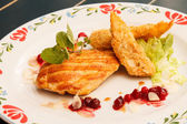 Chicken with cranberry sauce — Stock Photo