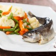 Trout served with mixed vegetables — Stock Photo