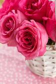 Rosa rosor i korgen — Stockfoto