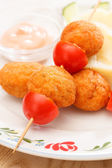 Chicken balls with mashed potatoes — Stock Photo