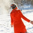 Happy woman in winter park — Stock Photo