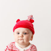 Funny boy in nice christmas costume — Stock Photo