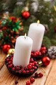 Vánoční dekorace svíčky — Stock fotografie
