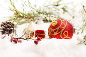 Christmas balls with snow — Stock fotografie