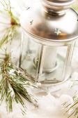 Kerst tabel decoratie met kaars — Stockfoto