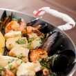 Stock Photo: Seafood paellin fry pan