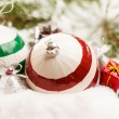 Stock Photo: Christmas balls with snow