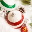 Christmas balls with snow — Stock Photo #37879907
