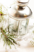 Christmas table decoration with candle — Stock Photo