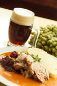 Meat with cabbage and mashed potatoes — Stock Photo