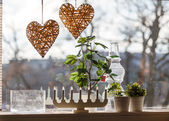 Windowsill with candles — Stockfoto