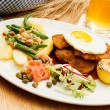Stock Photo: Wiener Schnitzel with Potatoes and Fresh Vegetables