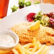 Fish with french fries potatoes — Stock Photo