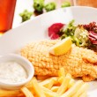 Fish with french fries potatoes — Stock Photo #39064685