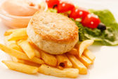 French fries with chicken cutlet for kids menu — Stock Photo