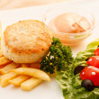 Stock Photo: French fries with chicken cutlet for kids menu